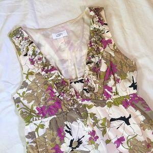 LOFT Floral Silk Blend Sleeveless Dress